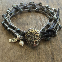 "Sugar Skull Crochet Bracelet, Silver Knotted Leather Wrap ""Boho Chic"" Beaded Crocheted Jewelry by Two Silver Sisters twosilversisters"