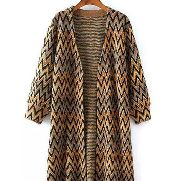 Geometric Pattern V-Neck Cuff Sleeve Knitted Cardigan