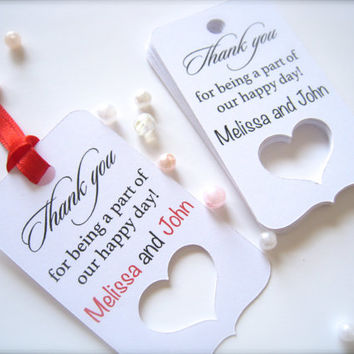 Wedding favor tags, thank you tags, favor tags, die cut tags, custom gift tags - 50 count