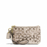 poppy small wristlet in sequin signature c fabric