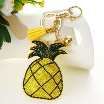 ESBONFI ZOSHI Fashion Hot Yellow pineapple pendant Key Chain Bag AccessoriesIce Leather Tassel Car Keychain for women Handbag Key Ring