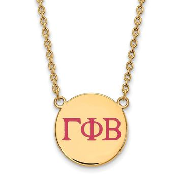 14K Plated Silver Gamma Phi Beta Large Enamel Necklace