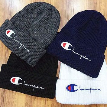 Champion Embroidery Beanies Winter Knit Hat Cap