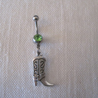 Belly Button Ring - Body Jewelry - Silver Cowgirl with Green Gem Stone Belly Button Ring
