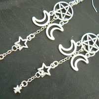 pentagram earrings Triple moon earrings pentacle earringa  star earrings  in fantasy boho Wicca wiccan witch magic hipster style