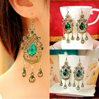 European American Retro Style Palace Green Water Drop Exaggerated Long Section Large Earrings