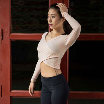 Cambodia Long-Sleeve Yoga Crop Top
