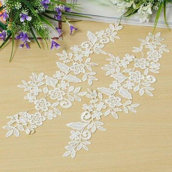 1 Pair Diy White Fabric Lace Mirror Flower Sewing Applique Lace Edge Trim Sewing Clothes Garment Wedding Decor Materials Supply