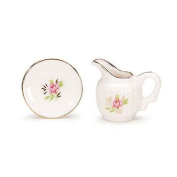1:12 Scale Ceramic Pitcher and Bowl Set #2303-03