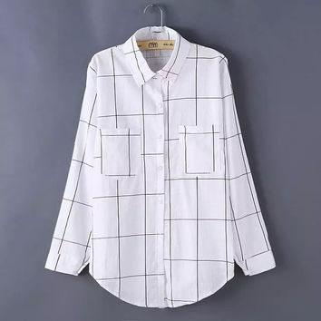 Plaid Pattern Collared Button Up Pockets Long Sleeve Blouse