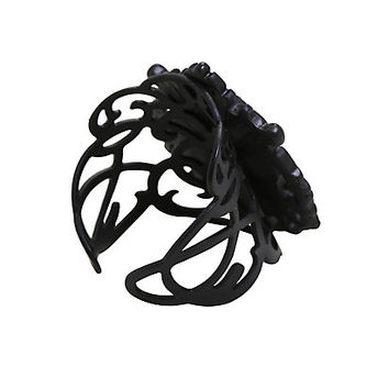 Blackheart Black Gem Filigree Ring