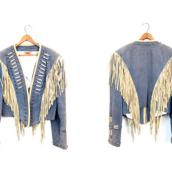 Fringed 60s Suede Jacket Cropped Leather Embellished Coat Beaded Military Marching Band STUDDED Punk Rock Bomber Boho Southwestern Medium