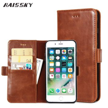 HAISSKY 5 5S SE Classic Book Leather Case For iPhone 7 Plus 6 6s Plus iPhone 8 Wallet Case Luxury Flip Cover Phone Accessories