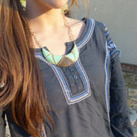 Mint Green Bib Statement Necklace Mint Green with Gold setting and Matte Gold Earrings FREE earrings FREE Gift Wrapping