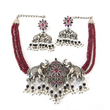 Triple stranded crystal bead with Statement Elephant Choker Necklace and Earring Set