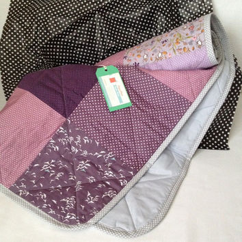 Modern baby quilt~ lilac~ mauve~ purple~ baby quilt~ baby blanket~ mouse~ mice~ woodland~ birds~ girl nursery blanket~ quilted baby blanket