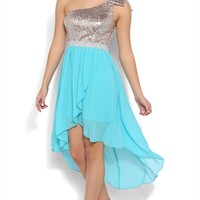 High Low Dress with Sequin Bodice and One Shoulder Strap with Bow