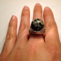 Wire Agate ring - natural moss agate wire wrapped ring - size 8 - handmade silver ring - stone ring - chunky ring - cocktail ring - any size