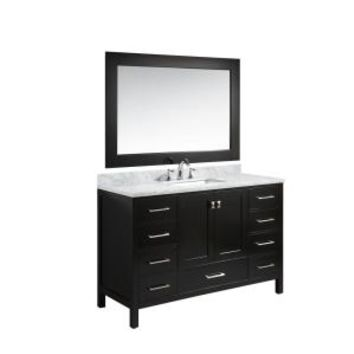 Design Element London 54 in. W x 22 in. D Vanity in Espresso with Marble Vanity Top in Carrera White with White Basin and Mirror DEC082D-E at The Home Depot - Mobile