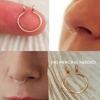 8DESS A Dainty Fake Faux Septum Ring Stainless Steel 14k Yellow or Rose Gold or Iron Filled 20 Gauge 8mm In Diameter