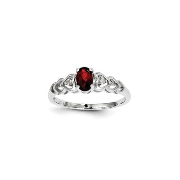 Sterling Silver Garnet & Diamond January Birthstone Ring