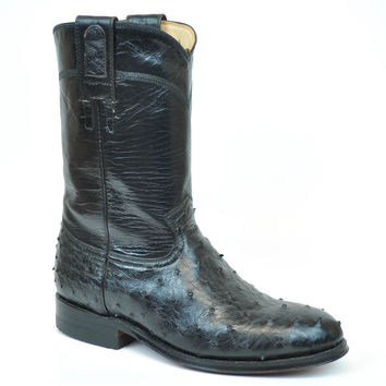 Gavel Handcrafted Women's Black Full Quill Ostrich Roper Round Toe Cowgirl Boots