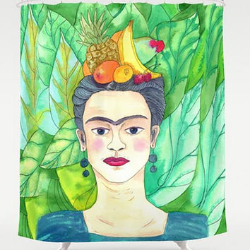 Frida Kahlo Shower Curtain -  Fruit and Frida Teal Green Aqua blue, artist tropical, foliage, eyebrows, decor bath