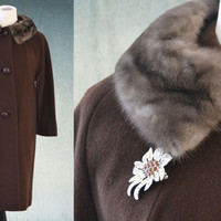 1960s Swing Coat Mink Collar Chocolate Brown Cashmere Union Made