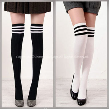THIGH HIGH SOCKS Over Knee Girls Ladies Cheerleader womens stripe cotton