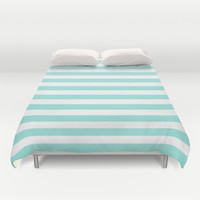 Stripe Tiffany Blue Horizontal Duvet Cover by Beautiful Homes