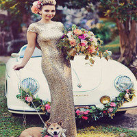 Sparkly Gold Sequins Wedding Party Dresses Floor Length Open Back Bridesmaid Dress 2017 Wedding Dress Prom Party Gowns