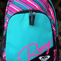 ROXY Laptop Aqua Geometric Stripe Backpack Book Bag NWT