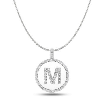 """M"" Diamond Initial  14K White Gold Disk Pendant (0.65ct)"