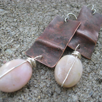 Nikki - Copper Drop Earrings Fold Formed Pink Opal Earrings Tribal Bohemian Dangle Earrings