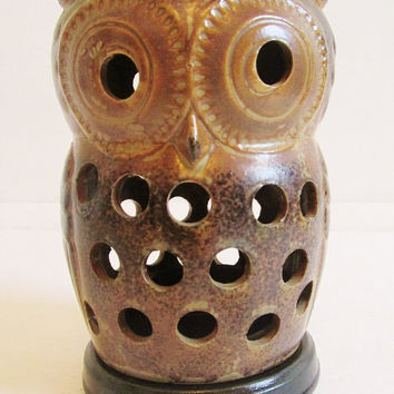 Vintage 1970's Brown Ceramic Owl Votive Candle Holder