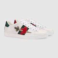 GUCCI Ace Leather Embroidered Low-top Sneaker