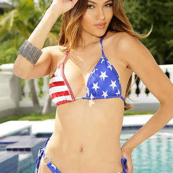 Red White Blue Patriotic O Ring Sexy Swimsuit