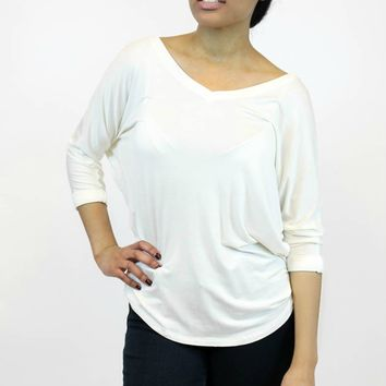 V-Neck Dolman in Natural | Tresics
