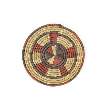 Vintage Woven Plate -- African Coiled Basket Plate -- Natural Sisal Fiber Small Round Straw Plate -- Tribal Wall Hanging -- Boho Decor