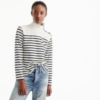 Striped button-shoulder turtleneck