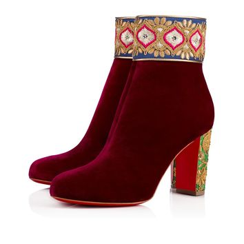 Red Velvet Adornment Ankle Boots by Christian Louboutin