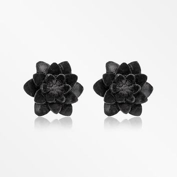 A Pair of Black Water Lily Handcarved Wood Earring Stud