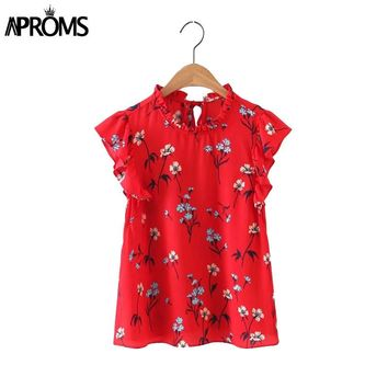 Sweet Ruffles Floral Blouse Shirts Back Tie Sleeveless Ruffled Neck Blouses Ladies Fashion Casual Tops