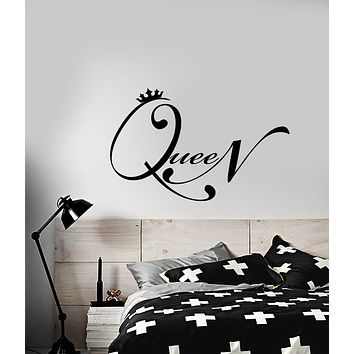 Vinyl Wall Decal Quote Word Queen Crown For Girl Room Stickers (3164ig)
