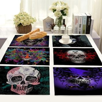 Skull Pattern Table Mat Fashion Kitchen Decoration Placemat Table Dining Accessories Table Mat