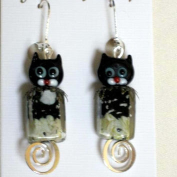 Halloween or Fall Earrings Handmade, Kitty Cat Lampwork, Bronze and Silver findings
