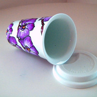 Ceramic Travel Mugs Purple Orchids Tropical Hand Painted Flowers Botanicals Eco Friendly Coffee Tumbler