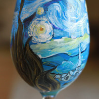 Van Gogh Inspired Hand Painted Wine Glass Featuring The Starry Night