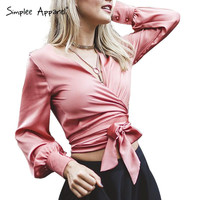 Simplee Apparel sexy v neck satin white blouse shirt Long lantern sleeve party blouse girl Glossy bow pink blusas 2016 crop top