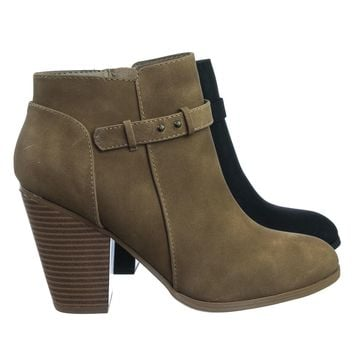 House Fashion Western Bikers Motorcycle Block Heel Ankle Bootie w Belt